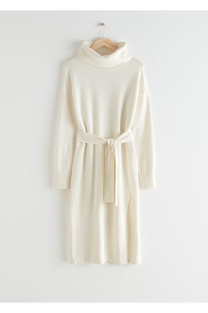 & OTHER STORIES Relaxed Belted Turtleneck Midi Dress
