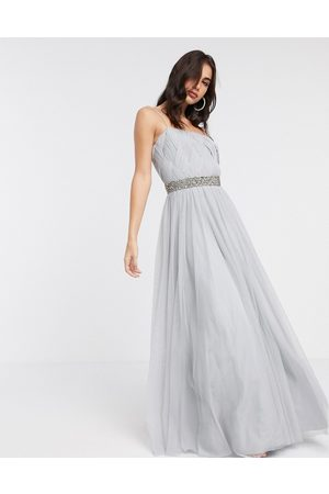 ASOS Tulle embellished waist cami maxi dress in silver blue-Multi