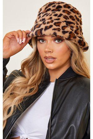 PRETTYLITTLETHING Faux Fur Leopard Bucket Hat