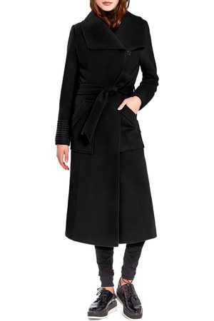 Sentaler Women's Wide Collar Belted Alpaca & Wool Wrap Coat