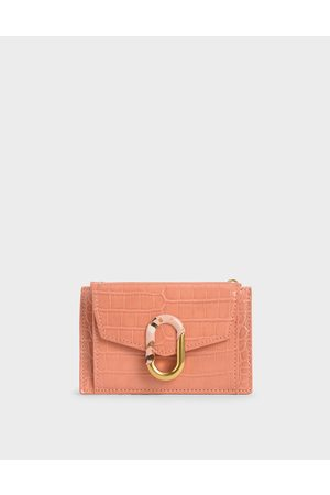 CHARLES & KEITH Croc-Effect Stone-Embellished Card Holder