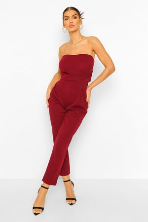 Boohoo Womens Bandeau Tailored Woven Slim Fit Jumpsuit - 4