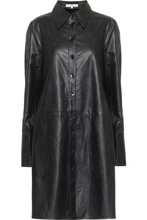 tibi Tissue faux leather shirt minidress