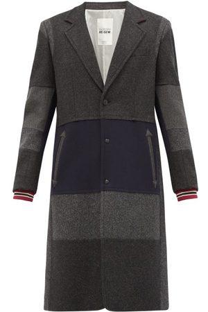 VALENTINO GARAVANI Single-breasted Patchwork Wool-blend Coat - Mens - Grey Multi