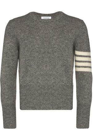 Thom Browne Men Sweatshirts - 4-Bar crew-neck Shetland wool jumper - Grey
