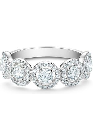 De Beers Women Rings - Platinum Aura motif half diamond eternity band