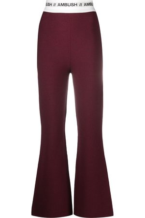 AMBUSH Women Wide Leg Pants - Knitted logo stripe flared trousers