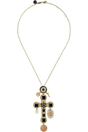 Dolce & Gabbana 18kt yellow sapphire cross charm necklace