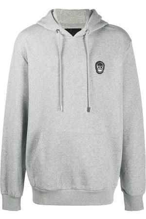Philipp Plein Skull-patch drawstring hoodie - Grey