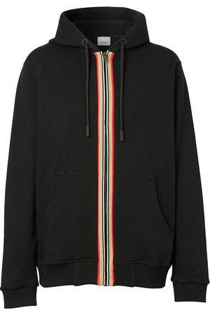 Burberry Men Hoodies - Icon Stripe zip-up hoodie