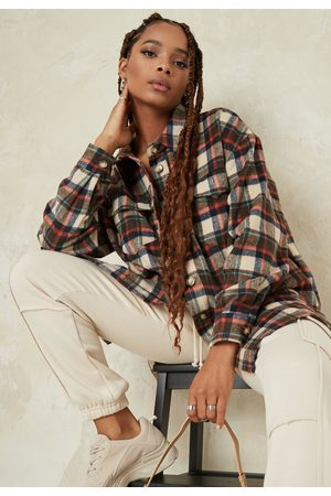 Missguided Plaid Extreme Oversized Shacket