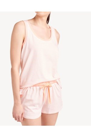 Splendid Womens Tank Sleep Set in Stripe Peach Pearl Summer Stripe - Size L