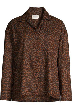 MAISON DU SOIR Women's Hendricks Animal Print Pajama Top - - Size Medium