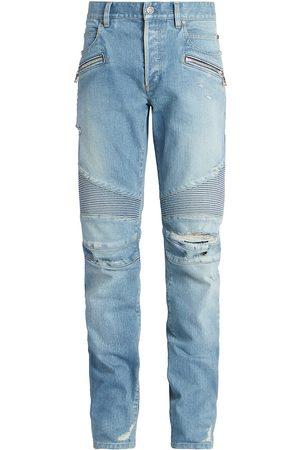 Balmain Men's Ribbed Tapered Moto Jeans - - Size 36