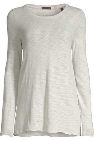 ATM Anthony Thomas Melillo Women's Destroyed Wash Long-Sleeve Slub Jersey Tee - - Size Large