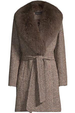 Sofia Cashmere Women Accessories - Women's Fur Collar Belted Jacket - - Size 8