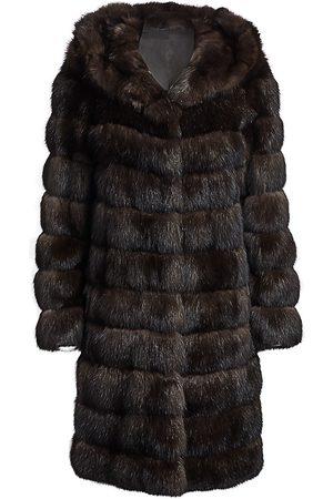 The Fur Salon Women's Hooded Sable Fur Coat - - Size Large