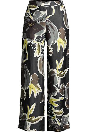 Lafayette 148 New York Women's Riverside Floral Wide-Leg Ankle Pants - Multi - Size Small