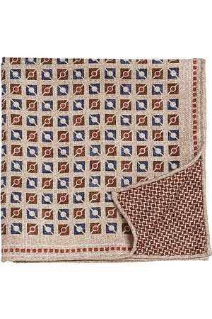 Brunello Cucinelli Men's Square & Circle Silk Pocket Square