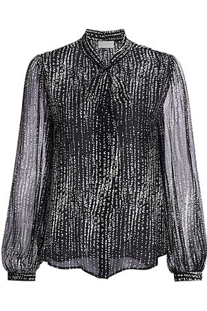 7 for all Mankind Women's Sheer Bow Tie-Neck Blouse - - Size Large