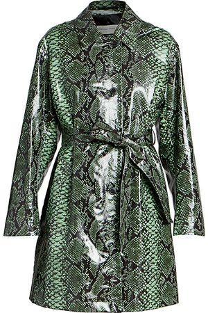 DRIES VAN NOTEN Women's Snakeskin-Print Patent Belted Trench Coat - - Size 40 (8-10)
