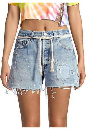 Riley Women's Dukes High-Rise Cut-Off Distressed Jeans Shorts - - Size 24 (0)
