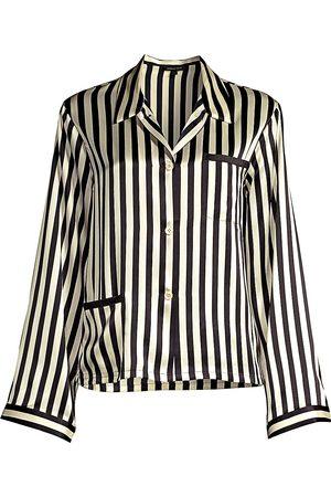 Morgan Lane Women's Ruthie Striped Silk Charmeuse Pajama Top - - Size Small