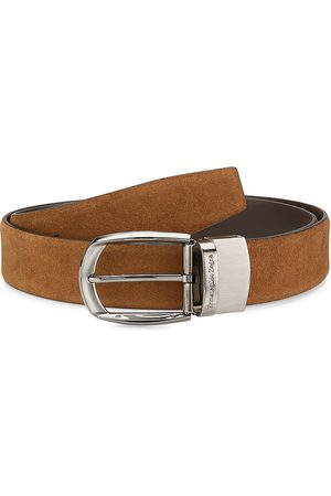 Ermenegildo Zegna Men's Suede Strap Silver Buckle Belt - - Size 115 (46)