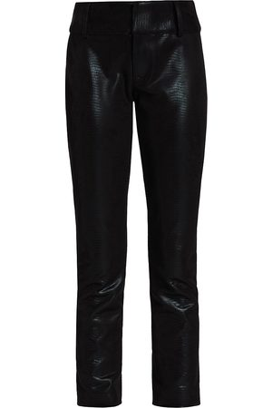 ALICE+OLIVIA Women's Stacey Vegan Leather Slim Cropped Pants - - Size 8