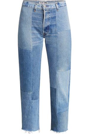 RE/DONE Women's 70s High-Rise Patched Straight Jeans - - Size 30 (8-10)