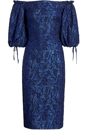 THEIA Women Strapless Dresses - Women's Metallic Off-the-Shoulder Puff-Sleeve Dress - Navy - Size 0