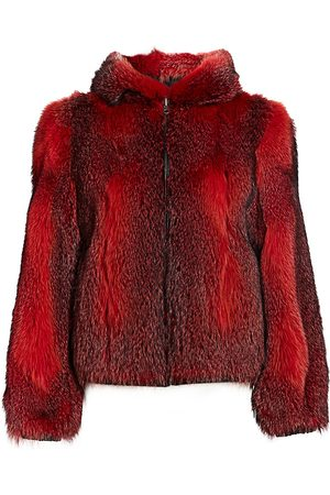 The Fur Salon Women's Fox Fur Hooded Jacket - - Size Large