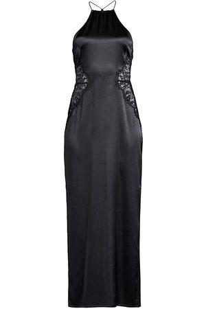 La Perla Women's Exotique Silk Halter Lace-Trim Night Dress - - Size Large
