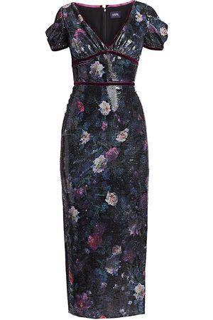 Marchesa Notte Women's Sequin Print Floral Sheath Dress - - Size 12