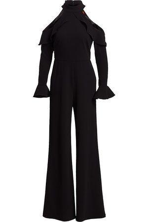 Ml Monique Lhuillier Women's Cold-Shoulder Long-Sleeve Ruffle Jumpsuit - - Size 10