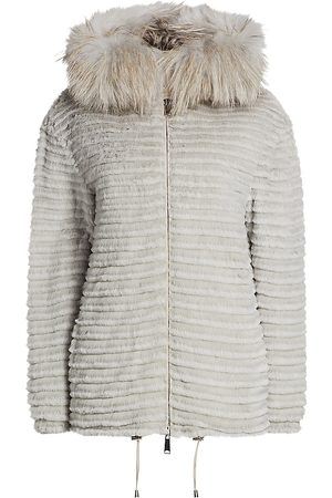 The Fur Salon Women's Julia & Stella For Fox & Rabbit Fur-Trimmed Hooded Mink Jacket - - Size Small