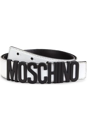 Moschino Men's Matte Logo Leather Belt - - Size 54 (38)