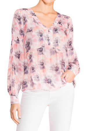 Parker Women's Camilia Silk-Blend Muted Print Blouse - - Size XL