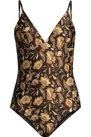 MATTEAU Women's Floral One-Piece Swimsuit - - Size 5 (10 US)