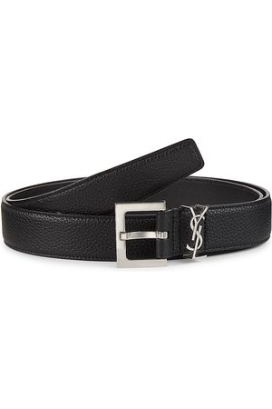Saint Laurent Men's YSL Monogram Leather Belt - - Size 80 (32)