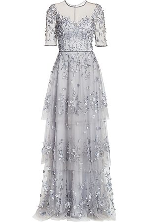 THEIA Women's Embellished Tiered Gown - Pale Lilac - Size 4