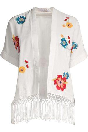 Carolina K Women's Anita Floral Embroidered Fringe Kimono - - Size Small