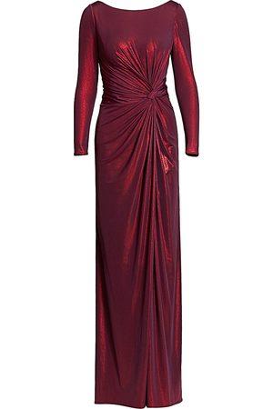 Rene Ruiz Collection Women's Metallic Long-Sleeve Drape Side Slit A-Line Gown - - Size 4