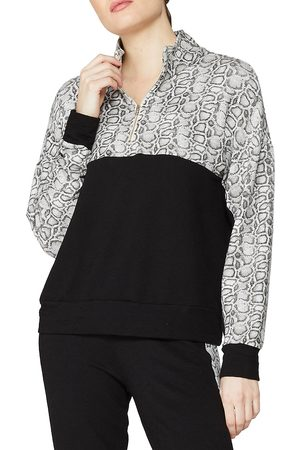 MONROW Women's Colorblock Snakeprint Quarter-Zip Top - - Size Large