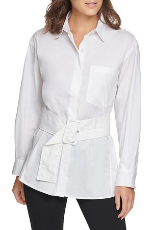 Donna Karan Women's Belted Poplin Shirt - - Size Medium