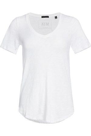 ATM Anthony Thomas Melillo Women's Cotton Slub V-Neck Tee - - Size Large