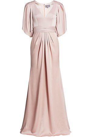 THEIA Women's V-Neck Satin Gown - - Size 16