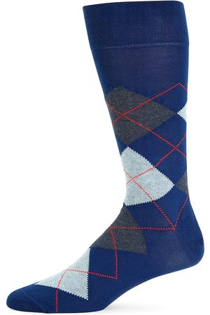 Marcoliani Men's Argyle Crew Socks - Royal