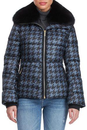GORSKI Women's Apres-Ski Detchable Fox Fur Collar Houndstooth-Print Puffer Jacket - - Size Small