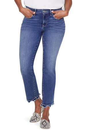 NYDJ Women's Marilyn Mid-Rise Straight Leg Fray Hem Ankle Jeans - - Size 18